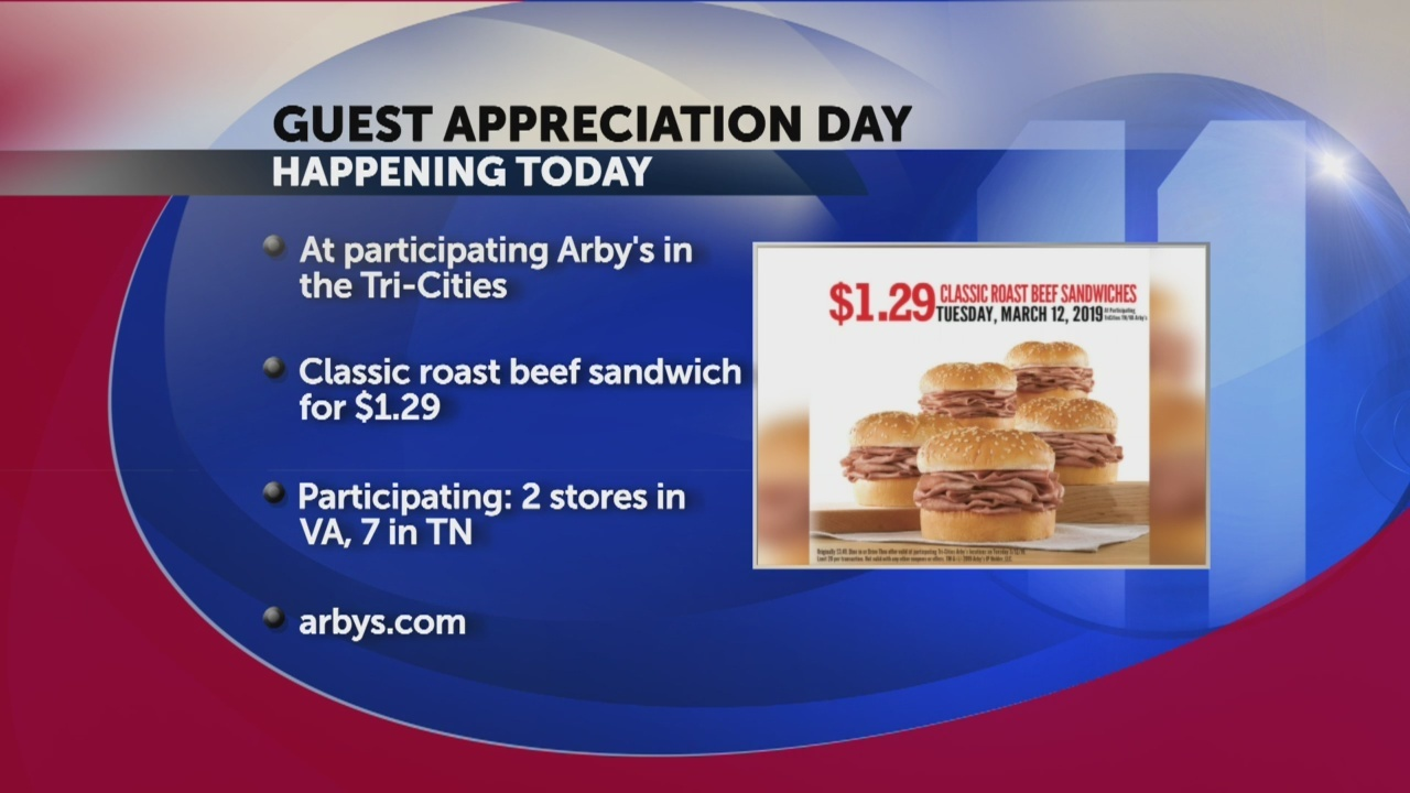 Arbys guest appreciation today