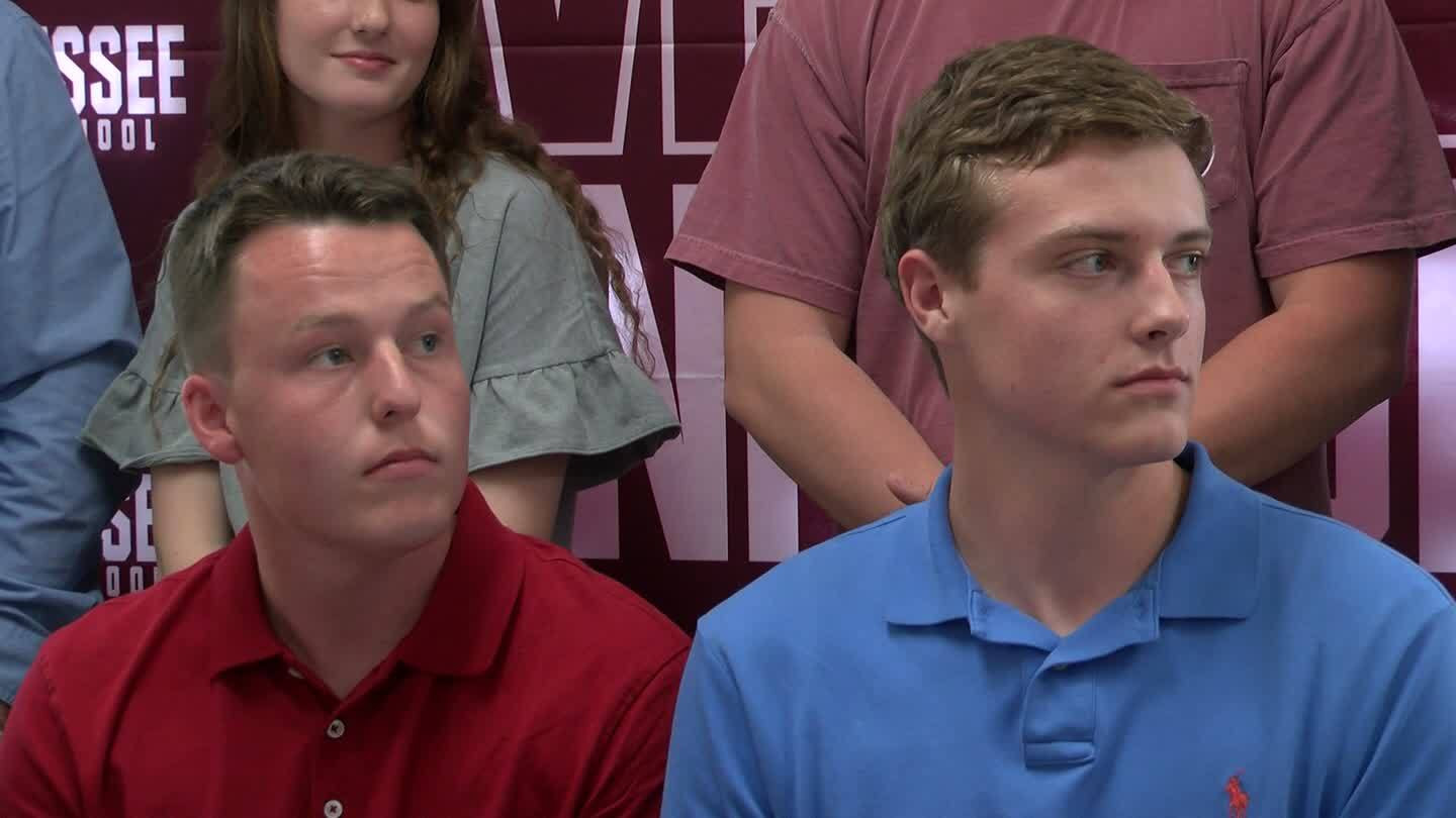 Tennessee High's Logan Dillow and Oakley Powers sign with King bass fishing