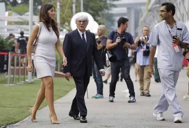 Bernie Ecclestone and his wife Fabiana Flosi (File Photo, 2014) Photo by Wong Maye-E, AP Photo_198414