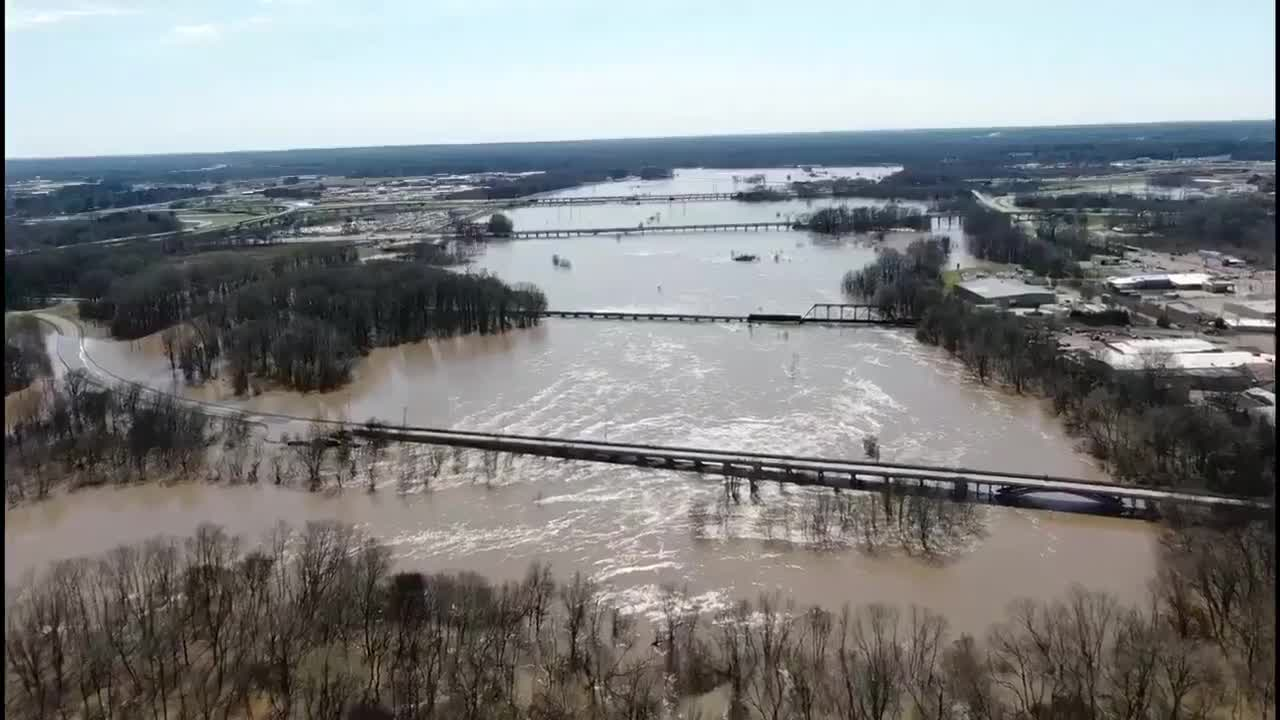 drone video of flooding
