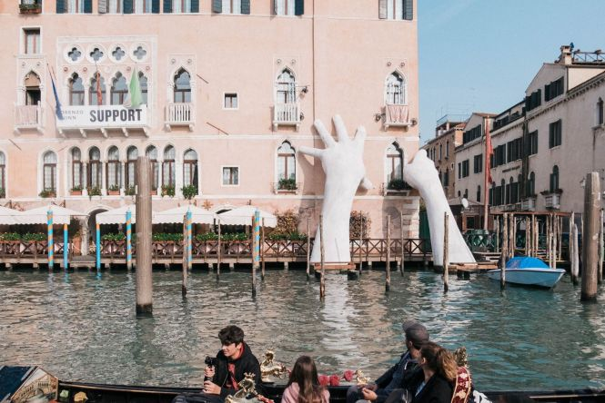 Giant Hands along Venice Grand Canal