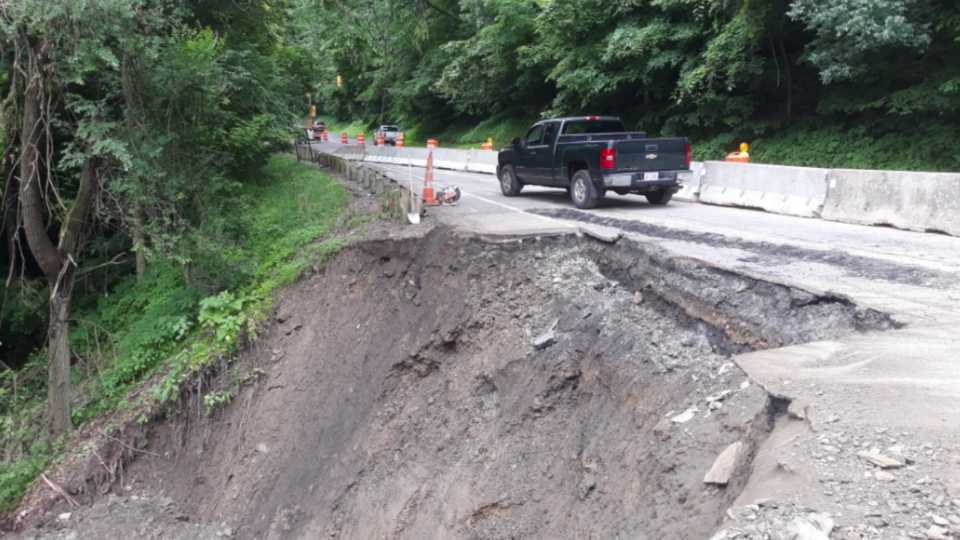 East Liverpool road washed away after heavy rain