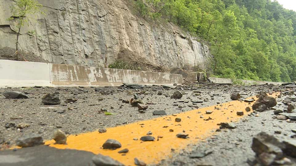 Landslide closes portion of State Route 7 in Jefferson County, Ohio.