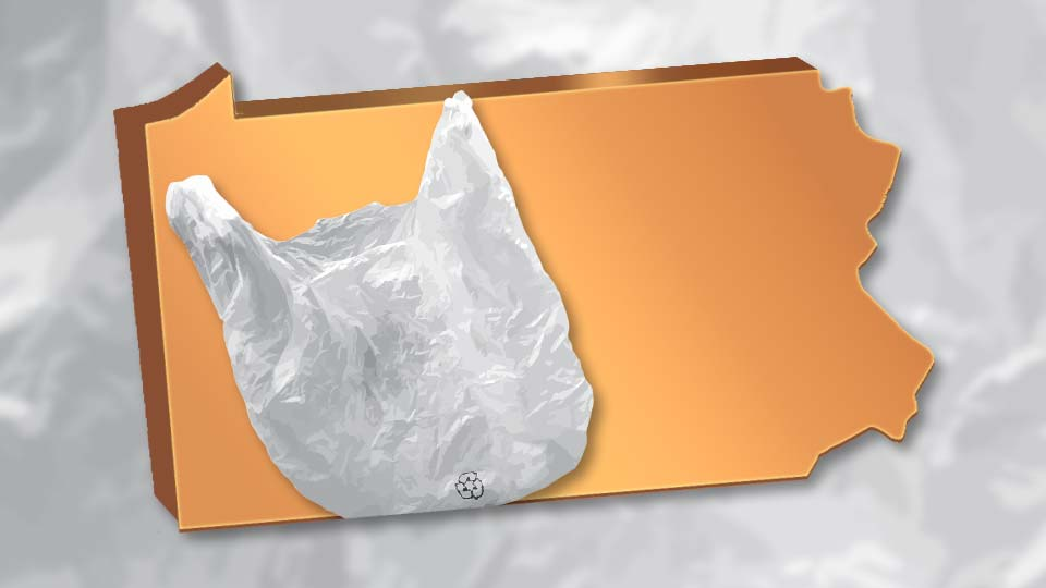 A plastic bag on an outline of the state of Pennsylvania.