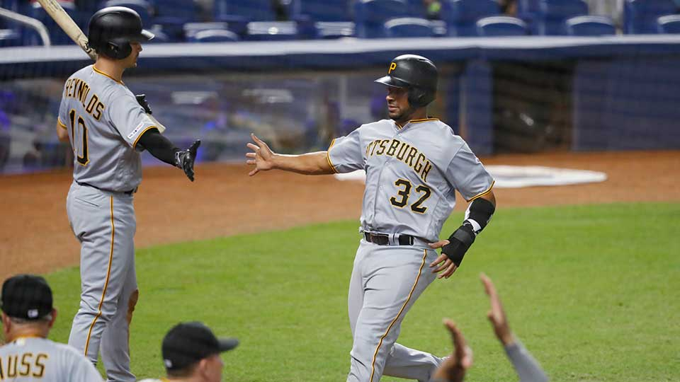 Pittsburgh Pirates' Elias Diaz and Bryan Reynolds