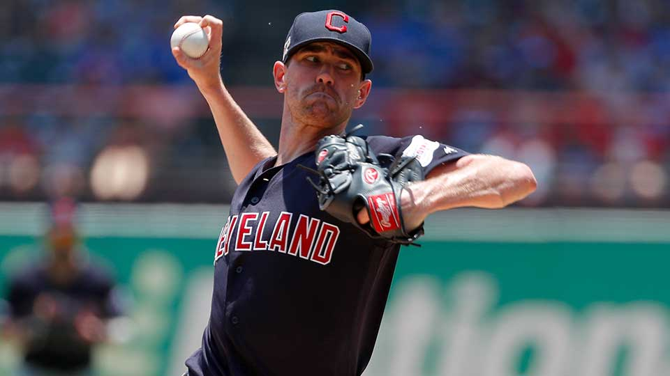 Cleveland Indians starting pitcher Shane Bieber, throwing a pitch during a game against the Texas Rangers on June 20, 2019.