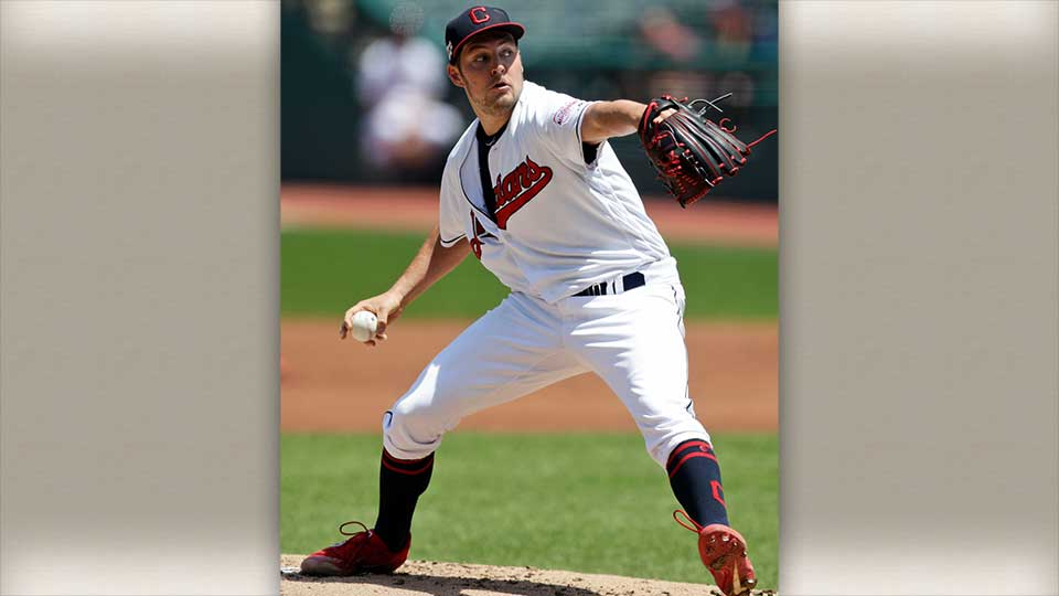 Cleveland Indians starting pitcher Trevor Bauer throwing a pitch during a game against the Royals on June 26, 2019.