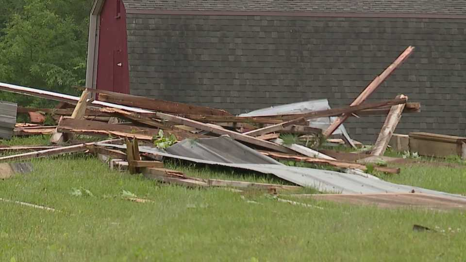 Tornado damage in Southington