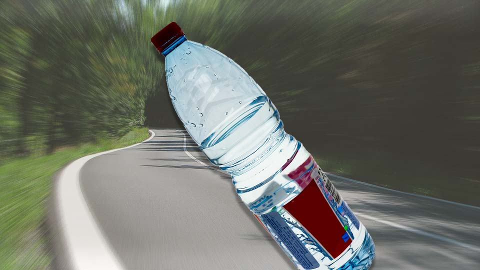 Water bottle thrown from vehicle at cyclist