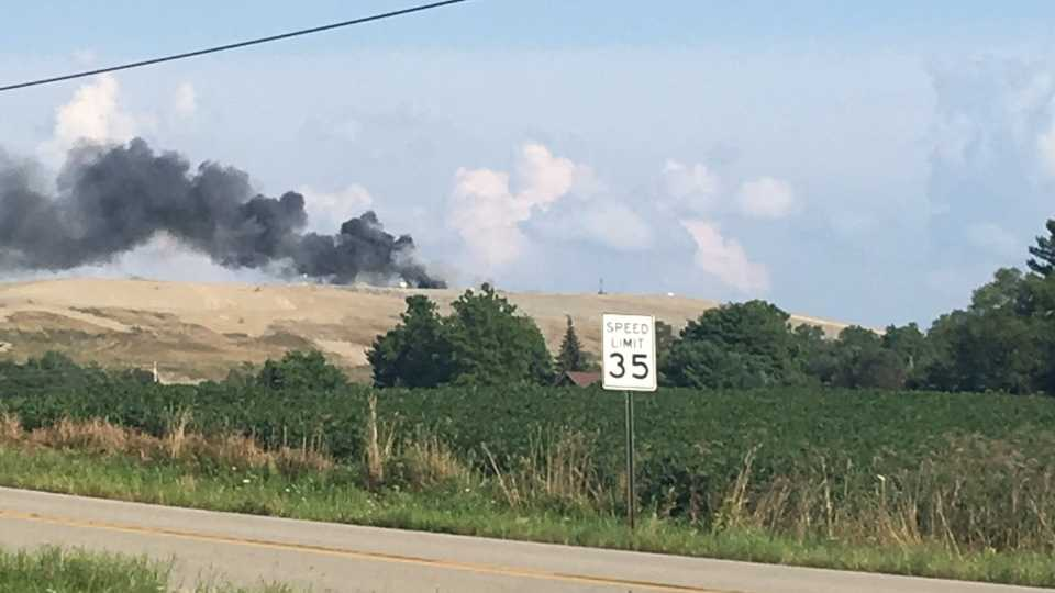 Lowellville landfill trash fire