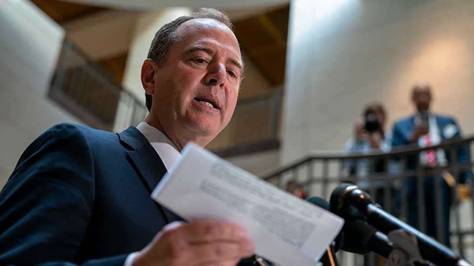 House Intelligence Committee Chairman Adam Schiff, D-Calif., speaks to reporters after the panel met behind closed doors with national intelligence inspector general Michael Atkinson about a whistleblower complaint, at the Capitol in Washington, Thursday, Sept. 19, 2019.