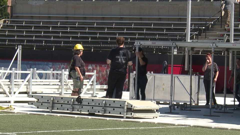 Set-up for Blake Shelton's Y Live at Stambaugh Stadium in Youngstown