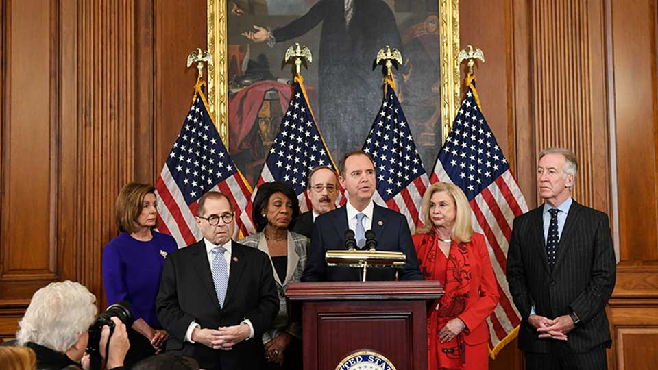 From left, House Speaker Nancy Pelosi, House Judiciary Committee Chairman Jerrold Nadler, D-N.Y., Chairwoman of the House Financial Services Committee Maxine Waters, D-Calif., Chairman of the House Foreign Affairs Committee Eliot Engel, D-N.Y., Chairman of the House Permanent Select Committee on Intelligence Adam Schiff, D-Calif., Chairwoman of the House Committee on Oversight and Reform Carolyn Maloney, D-N.Y., and House Ways and Means Chairman Richard Neal, unveil articles of impeachment against President Donald Trump, during a news conference on Capitol Hill in Washington, Tuesday, Dec. 10, 2019.