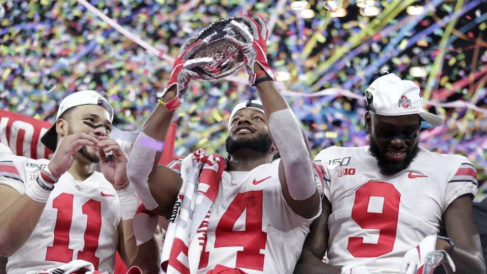 Big Ten championship NCAA college football game against Wisconsin, early Sunday, Dec. 8, 2019, in Indianapolis. Ohio State won 34-21.