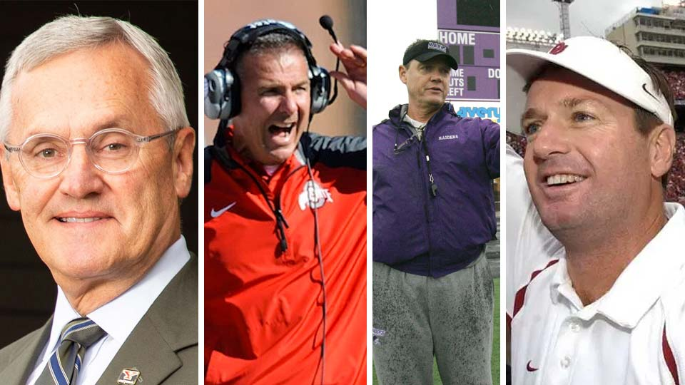 Jim Tressel, Urban Meyer, Larry Kerhres and Bob Stoops