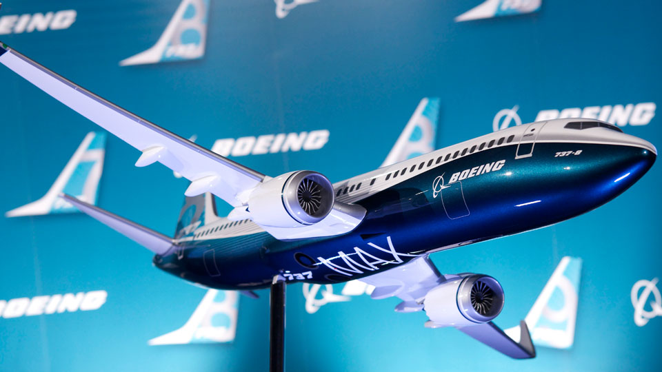 A model of the newly revealed 737-MAX passenger airplane