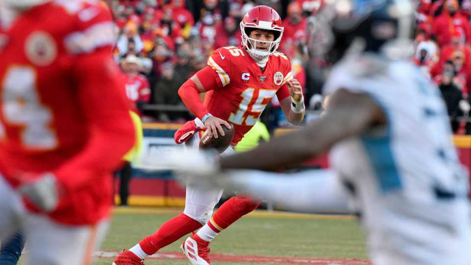 Kansas City Chiefs' Patrick Mahomes (15) runs for a touchdown during the first half of the NFL AFC Championship football game against the Tennessee Titans Sunday, Jan. 19, 2020, in Kansas City, MO.
