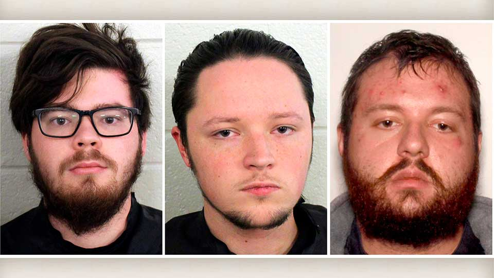 These undated photos provided by Floyd County, Ga., Police show from left, Luke Austin Lane of Floyd County, Jacob Kaderli of Dacula, and Michael Helterbrand of Dalton, Ga. FBI spokesman Kevin Rowson said Friday, Jan 20, 2020, that agents assisted in the arrests of the three Georgia men linked to The Base, a violent white supremacist group, on charges of conspiracy to commit murder and participating in a criminal street gang. Details of their cases have been sealed by a judge, Floyd County police Sgt. Chris Fincher said.