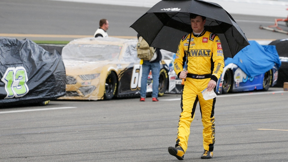 Erik Jones walks down pit road after rain caused a delay in the NASCAR Daytona 500 auto race at Daytona International Speedway, Sunday, Feb. 16, 2020, in Daytona Beach, Fla.