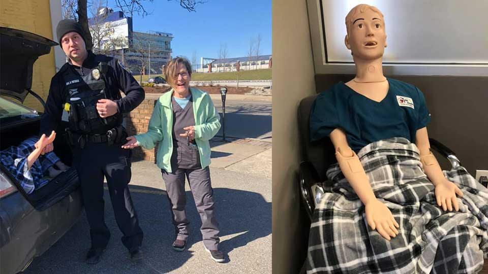 When a nurse from At Home Healthcare put a medical mannequin into the trunk of her car, she never expected police to show up.
