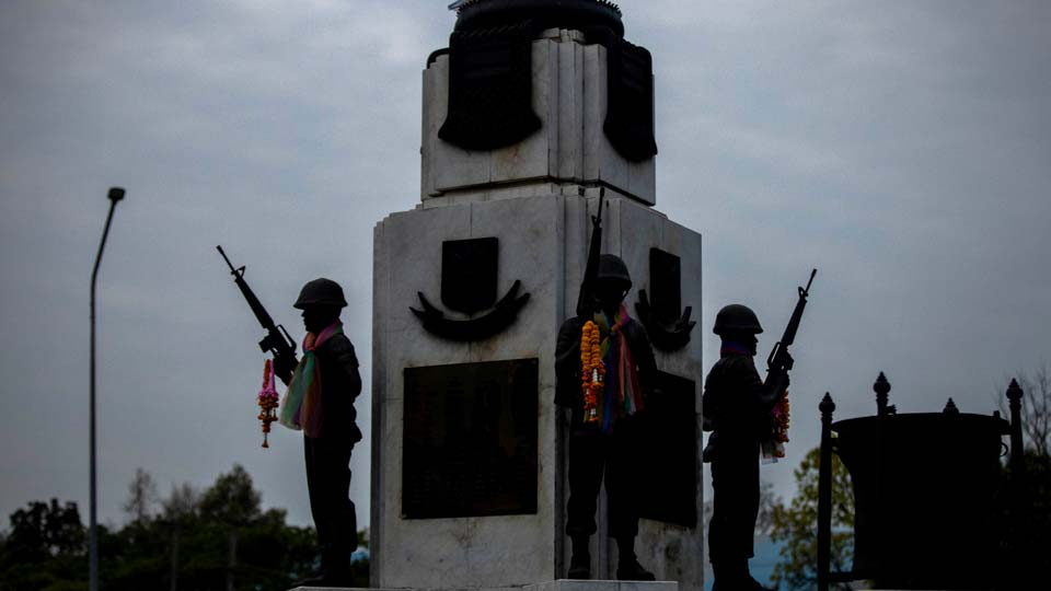 A statue of soldiers at Surathampitak Military Camp in Nakhon Ratchasima, Thailand