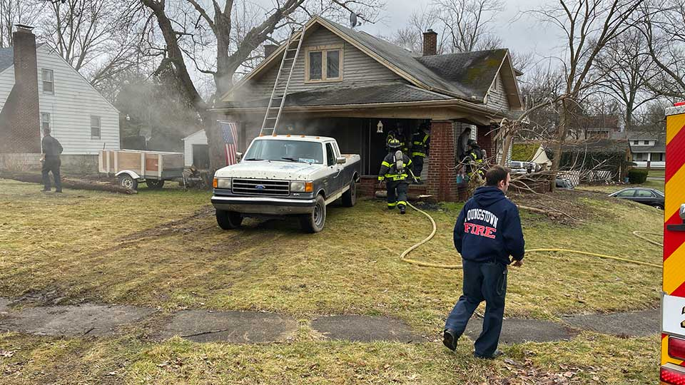 Firefighters are on the scene of a house fire at 235 E. Judson Ave. in Youngstown.