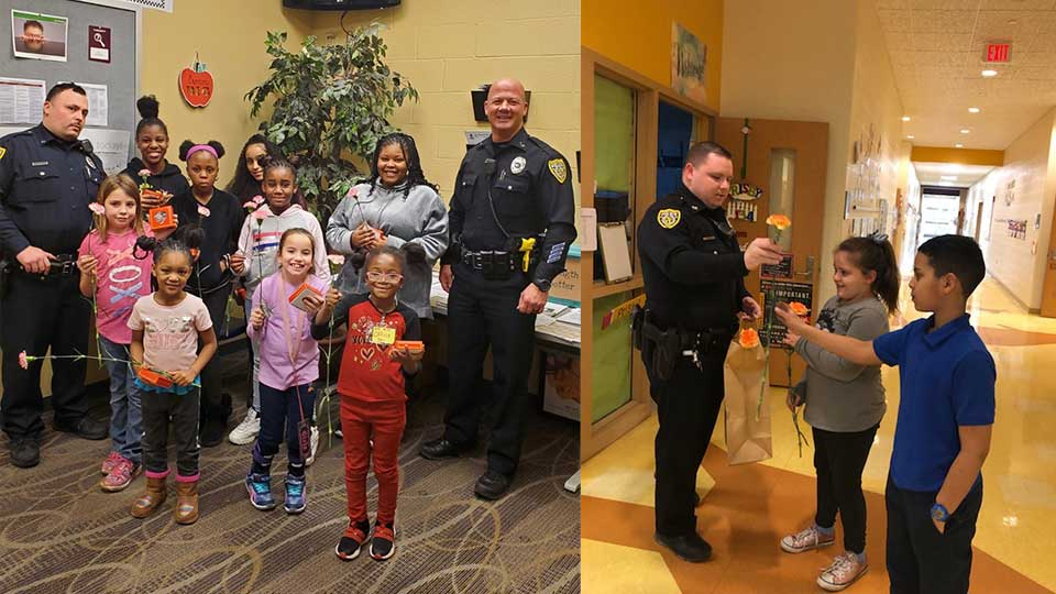 Youngstown police officers visited several city schools Tuesday in an effort to bring some Valentine's Day cheer to some students.