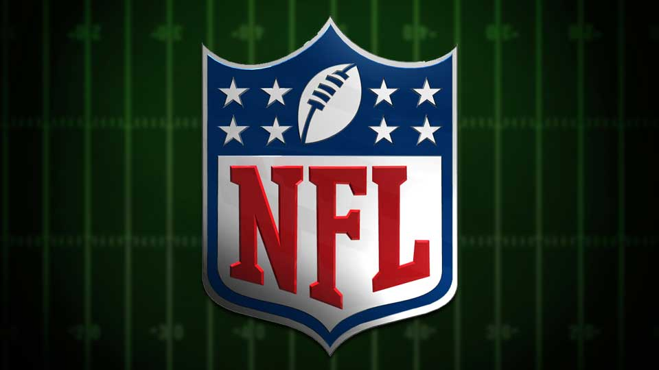 The NFL logo over a football field background.