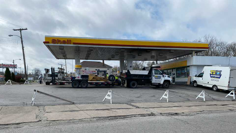 The Shell station at 3200 Market St. has been closed after reports said a stolen car knocked over a gas pump about 5:30 a.m. Wednesday.