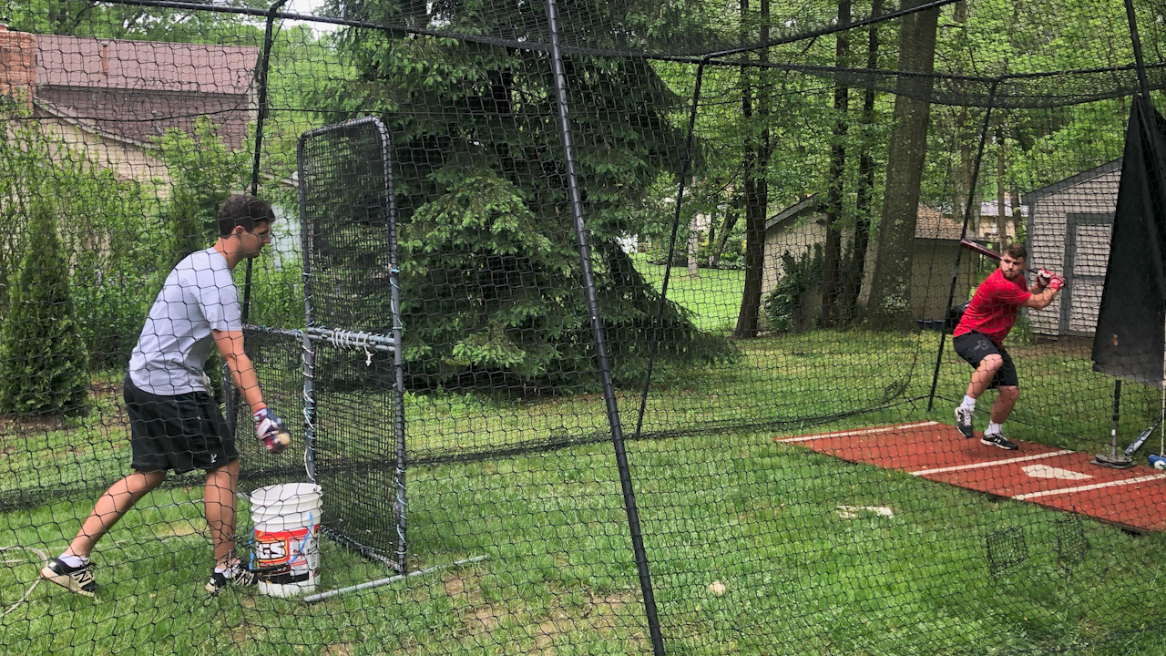 Padraig and Braeden O'Shaughnessy have been lifting and working out together in their batting cage at home during the pandemic