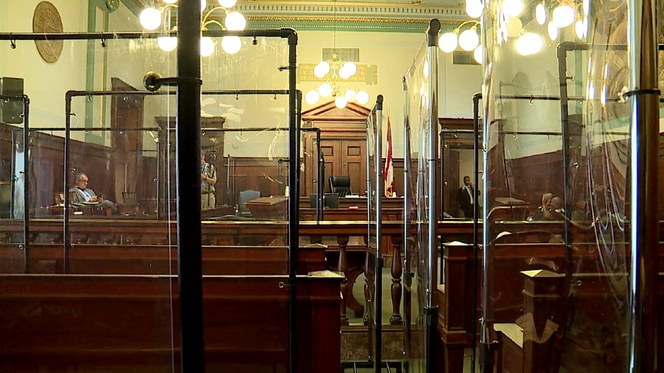 Mahoning County Courthouse plexiglass