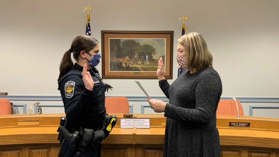 The Cortland Police Department swore in a new officer Wednesday.