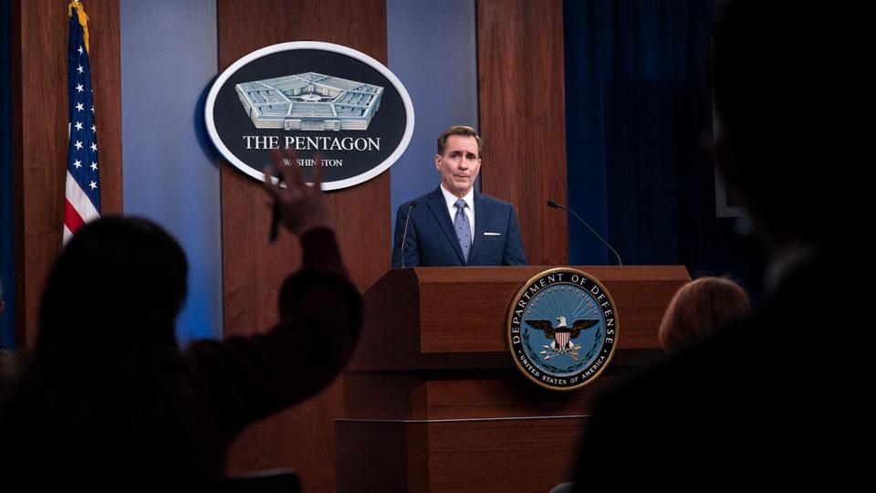 Pentagon spokesman John Kirby speaks during a media briefing
