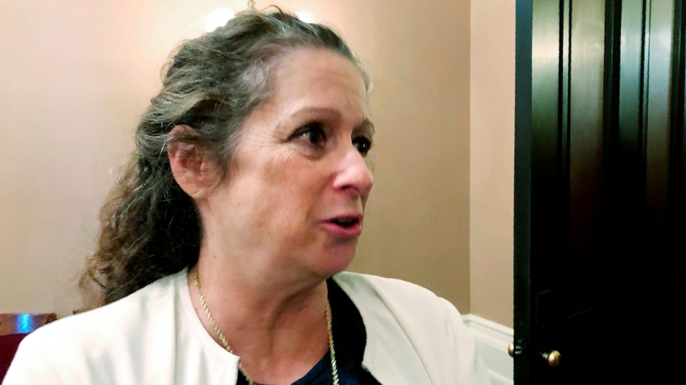 In this Jan. 15, 2020 file photo, Abigail Disney, granddaughter of Walt Disney Co. co-founder Roy Disney, speaks with reporters at the Capitol in Sacramento, Calif.