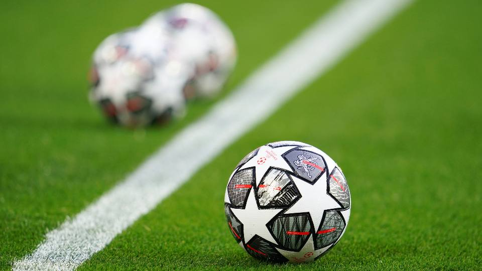 The Official UEFA Champions League match balls are on display ahead of the Champions League quarter final second leg soccer match between Liverpool and Real Madrid at Anfield stadium in Liverpool, England, Wednesday, April 14, 2021.