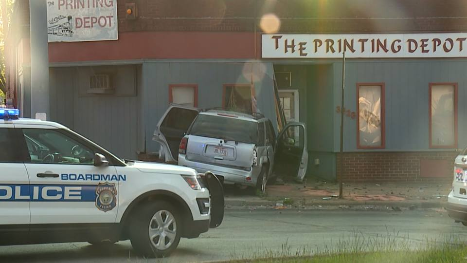 There was an accident Sunday evening that resulted in an SUV crashing in a building in Youngstown.