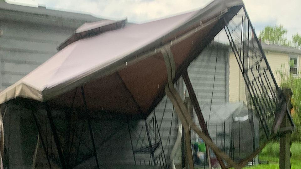 Gazebo damage from Daniel Giovanni in Youngstown
