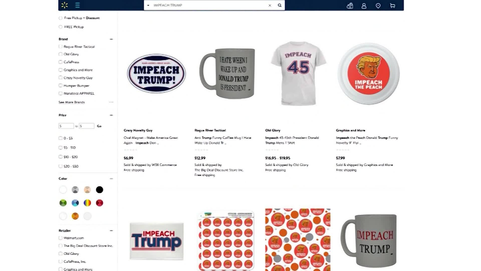 Walmart boycott campaign launched over 'Impeach 45' clothing