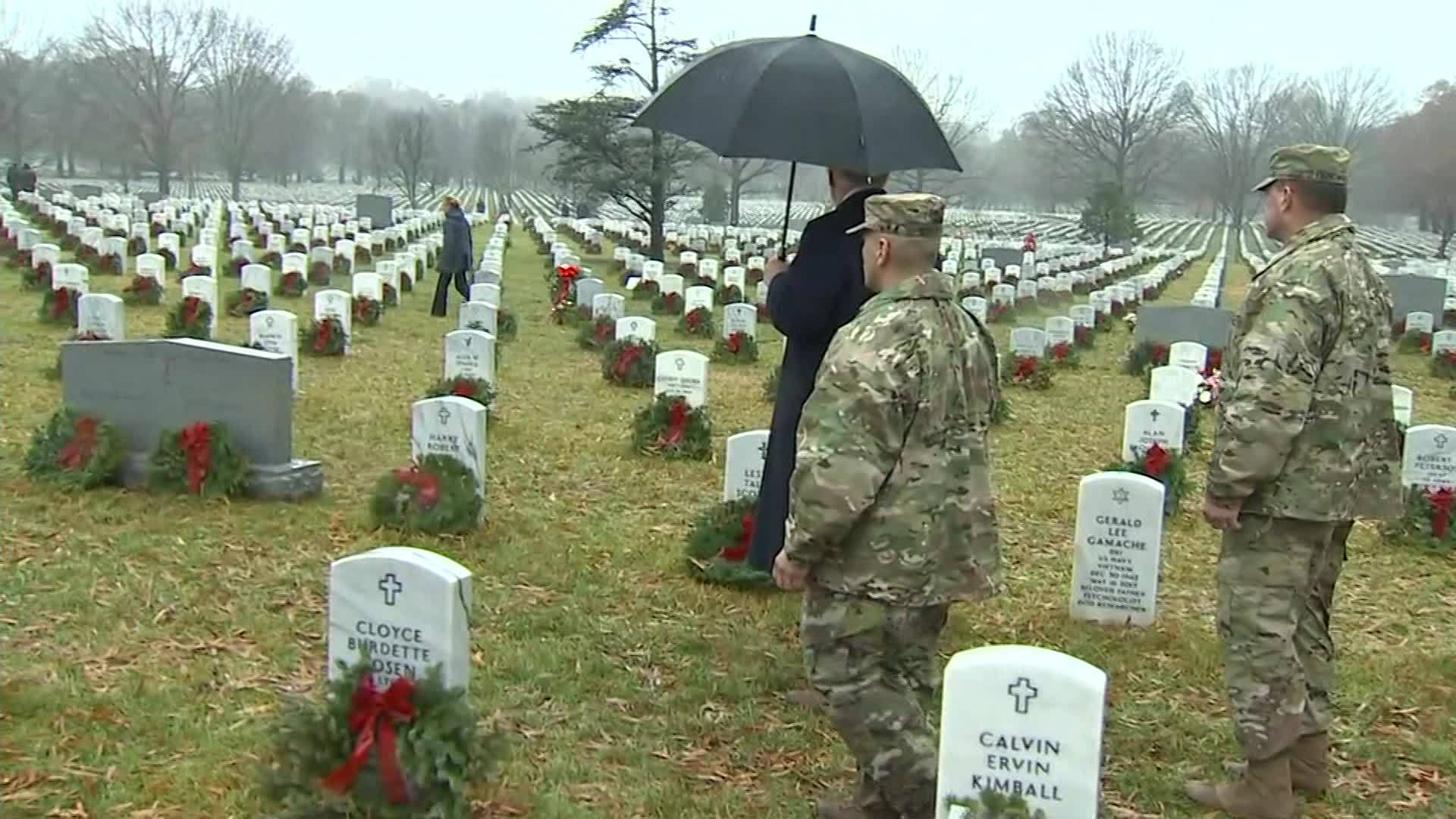 President Trump at Arlington National Cemetery to lay wreaths
