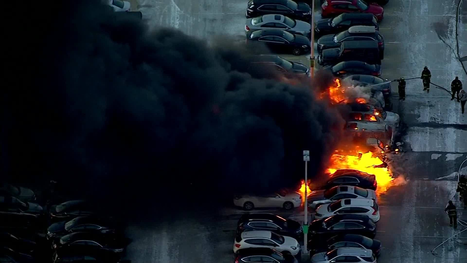 Cars Catch Fire at Newark Airport