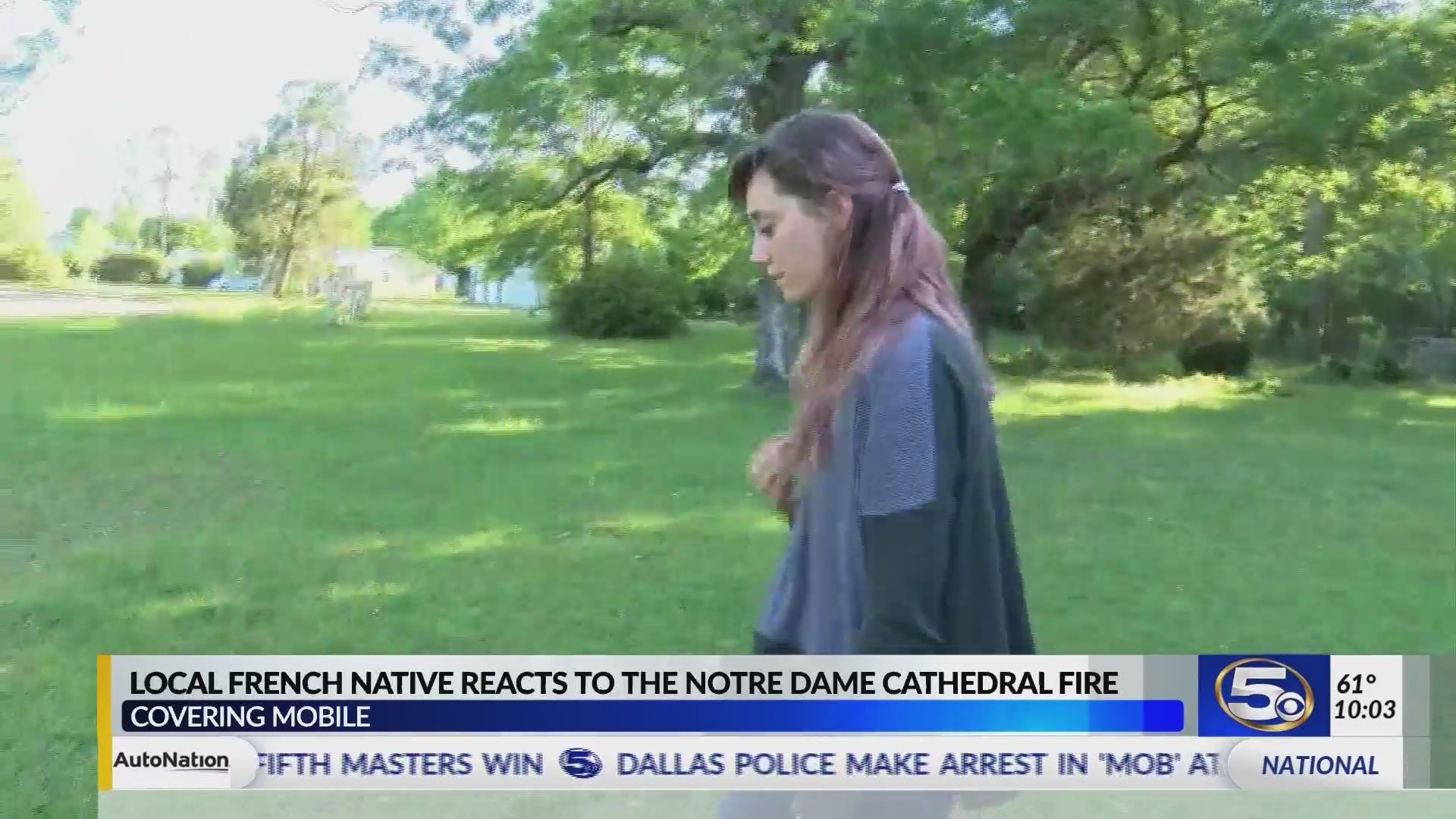 """VIDEO: """"I've been crying off and on all day,"""" French native in Mobile reacts to Notre Dame fire"""