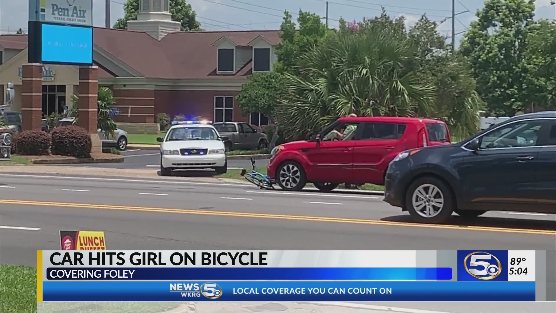 Car strikes girl on bike in Foley