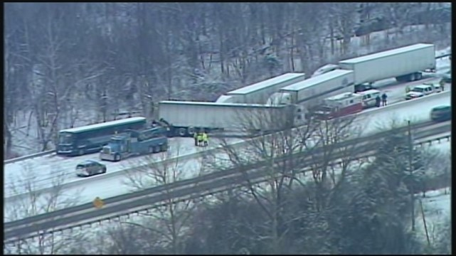 Greyhound bus on way to Nashville crashes with trucks in Ky