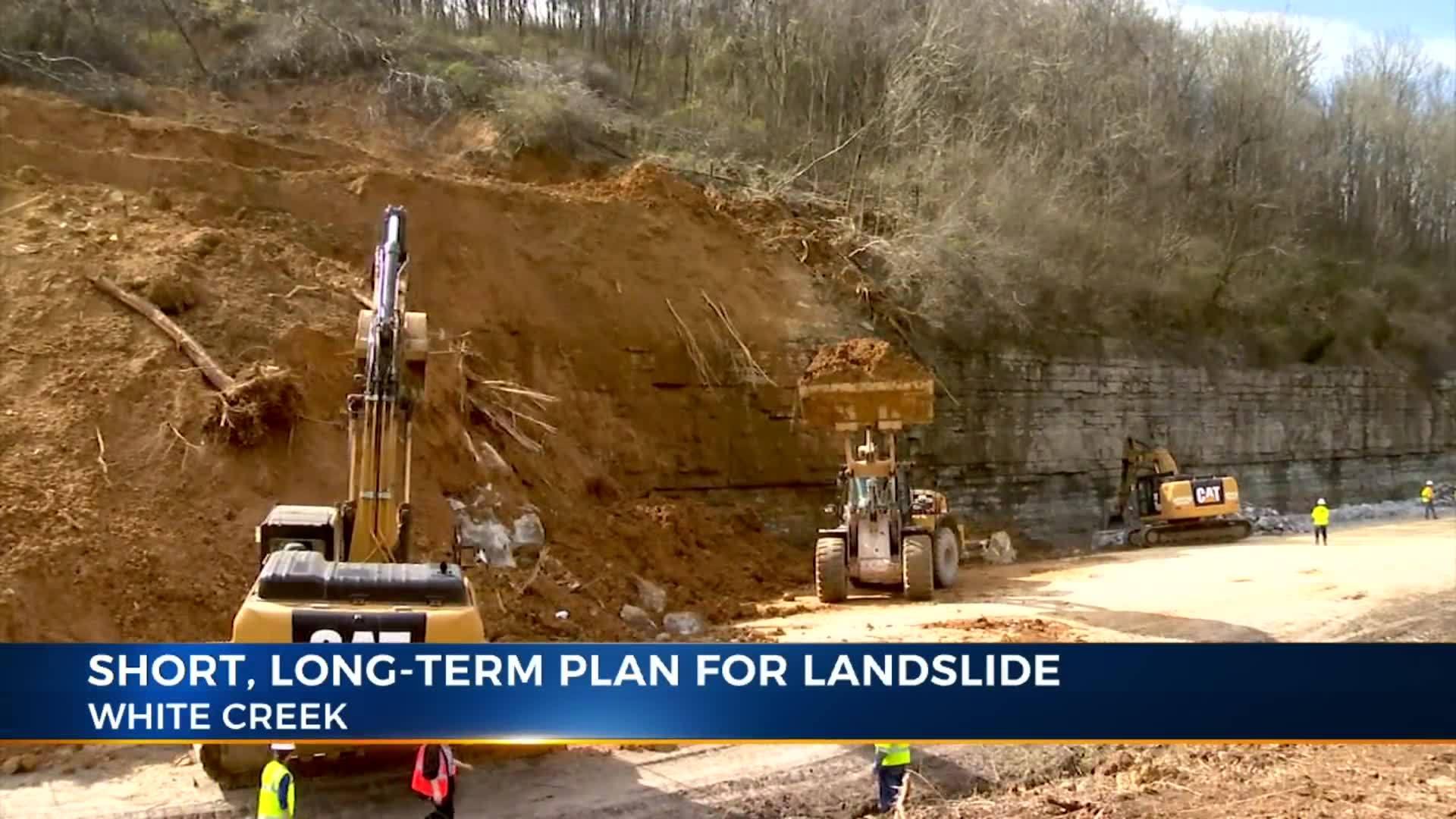 Temporary eastbound lanes along I-24 landslide under construction