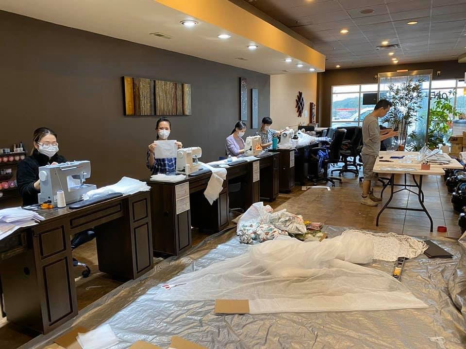 Volunteers at Zen Nails in Brentwood make face masks, shields, patient gowns