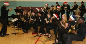 Sounds of the season by a local high school band.