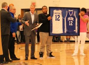 Drew Neitzel (center) accepts Hall of Fame award.