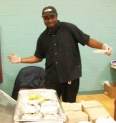 Kevin Cook of Smash Burger dishes out smiles and great burger samples.