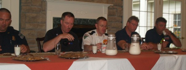 Cookie judges from left to right: Brandon Armstrong, Kentwood Police Dept., Scott Rubin, AMR, Mark Stinton, Life EMS, Lt. Mike Hipp, Kentwood, and Todd Bacon, Kentwood firefighter. It's a tough job but someone has to do it.