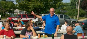 Wyoming Mayor Jack Poll visits with residents.